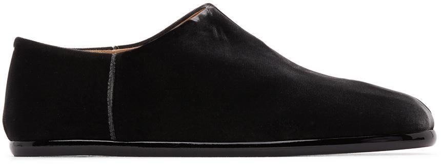 Maison Margiela Grey Velvet Tabi Babouche Loafers