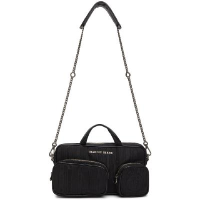 Marine Serre Black Three-Pocket Shoulder Bag