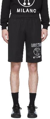 Moschino Black Double Question Mark Sweat Shorts