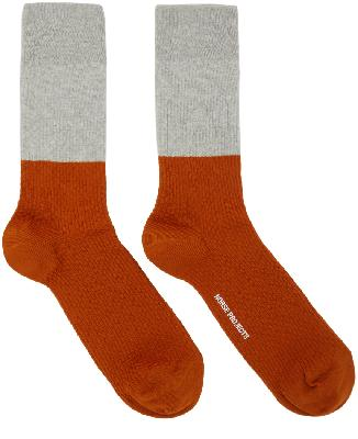 Norse Projects Grey & Orange Colorblock Bjarki Socks