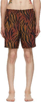 Palm Angels Brown & Black Tiger Swim Shorts