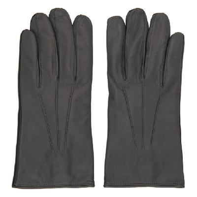 Paul Smith Grey Leather Bicolor Gloves