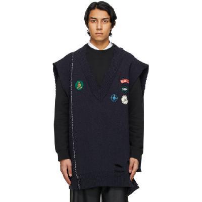 Raf Simons Navy Oversized Destroyed Knit Sweater