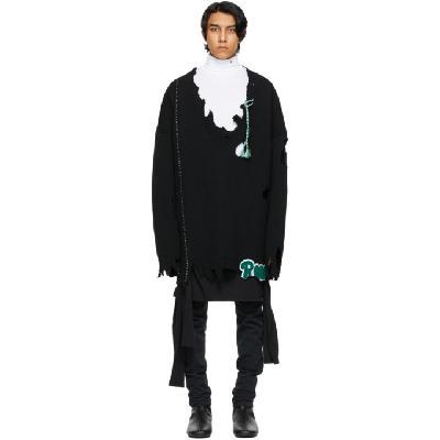 Raf Simons Black Oversized Destroyed 'Rena' Sweater