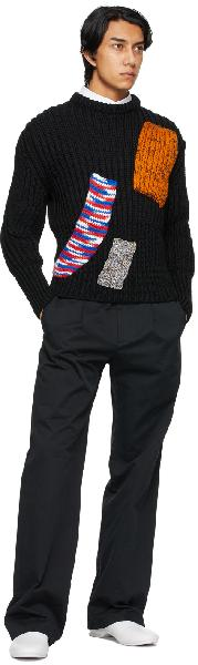 Raf Simons Navy Sterling Ruby Edition Fitted Cropped Sweater