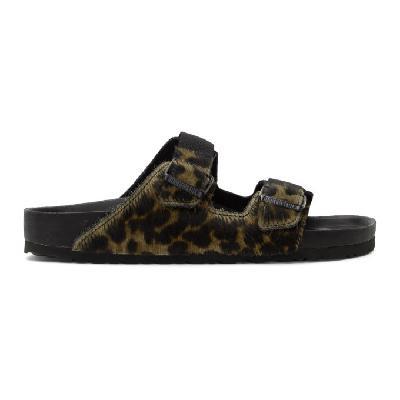 Random Identities Green Birkenstock Edition Pony Hair Leopard Arizona Sandals