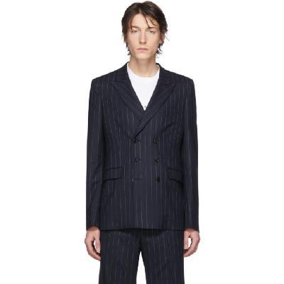 Random Identities Navy & White Wool Pinstripe Double-Breasted Blazer