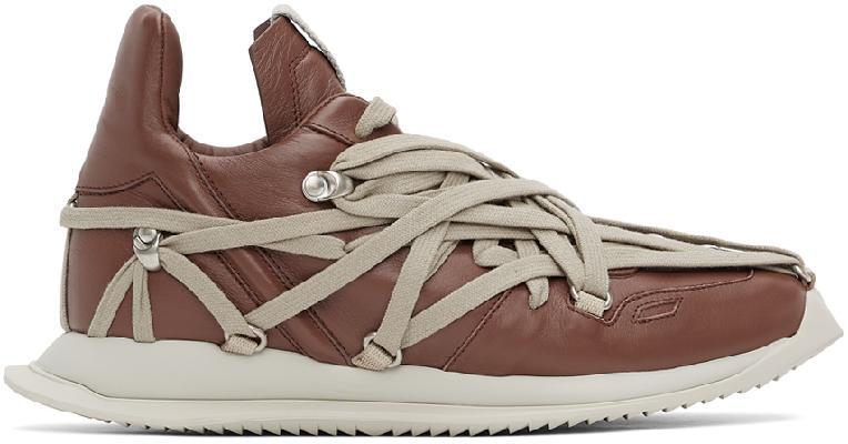 Rick Owens Burgundy Megalace Runner Sneakers