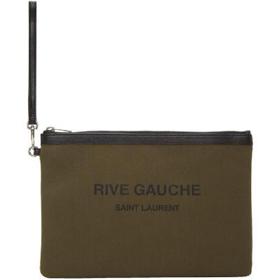 Saint Laurent Khaki Canvas 'Rive Gauche' Pouch