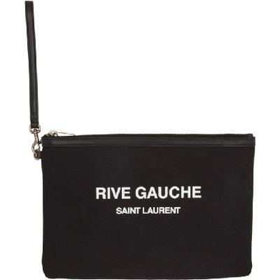 Saint Laurent Black Canvas Rive Gauche Pouch
