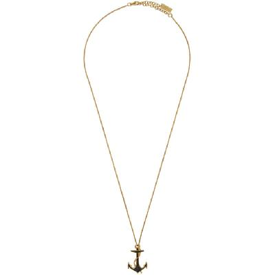 Saint Laurent Gold Enamel Anchor Necklace