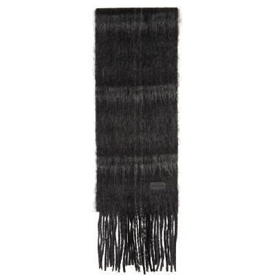 Saint Laurent Black & Grey Tartan Medium Scarf