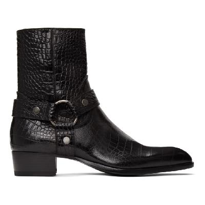 Saint Laurent Black Croc Wyatt Harness Boots
