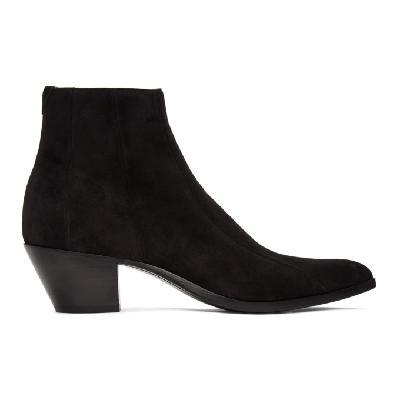 Saint Laurent Black Suede Finn Boots