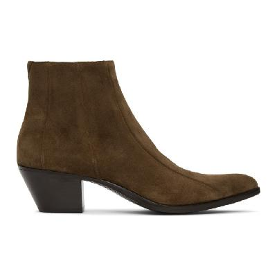 Saint Laurent Brown Suede Finn Boots