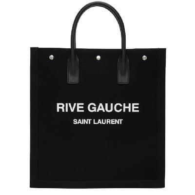 Saint Laurent Black & White 'Rive Gauche' Shopping Tote