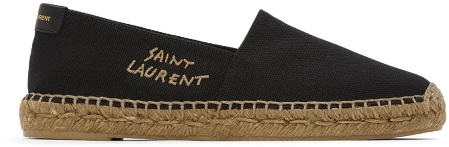 Saint Laurent Black Embroidered Logo Espadrilles