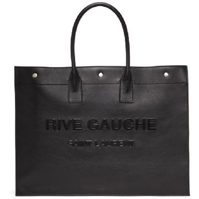 Saint Laurent Black Vegan Leather 'Rive Gauche' Noe Tote