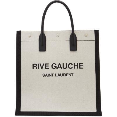 Saint Laurent Off-White & Black 'Rive Gauche' Tote