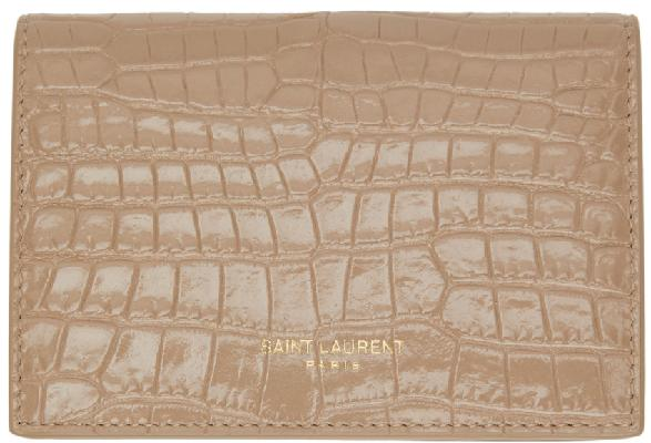 Saint Laurent Beige Croc Card Holder