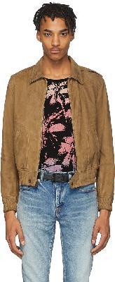 Saint Laurent Tan Leather Zipped Lyon Jacket