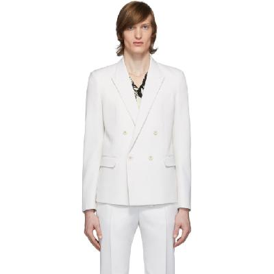 Saint Laurent White Wool Tailored Double-Breasted Blazer