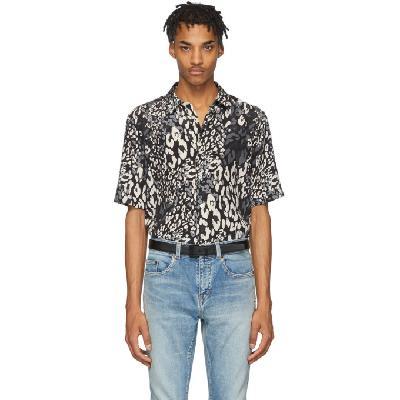Saint Laurent Black & Grey Silk Leopard Shirt