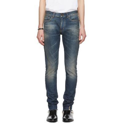Saint Laurent Blue Skinny 5 Pocket Low Jeans