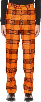 S.R. STUDIO. LA. CA. Orange & Black Plaid 417 Straight Leg Trousers