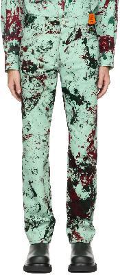 S.R. STUDIO. LA. CA. SSENSE Exclusive Green Hand-Dyed MPM SOTO C Jeans