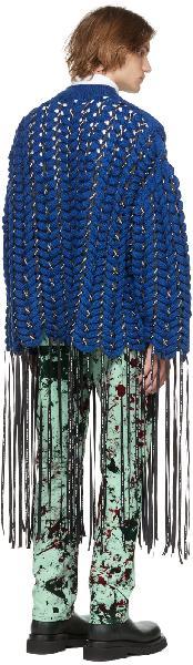 S.R. STUDIO. LA. CA. Blue Hand Knit Braided Cable Logo Ribbon Sweater
