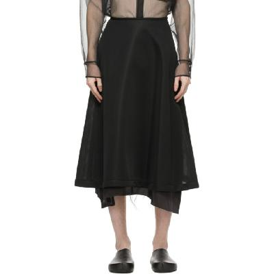Sulvam Black Flared Jersey Skirt