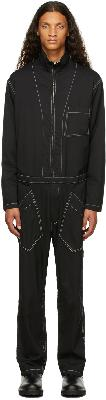 Sulvam Black Chain Stitch Jumpsuit