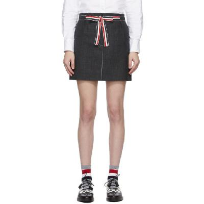 Thom Browne Grey Sack Tie Waist Miniskirt