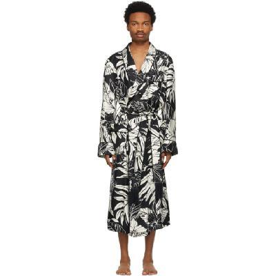 TOM FORD Black & White Silk Twill Robe