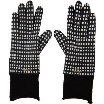 Undercover Black & White Sheepskin Printed Gloves