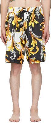 Versace Underwear Black & White Acanthus Swim Shorts