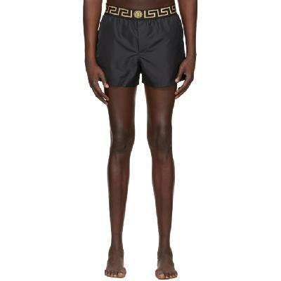 Versace Underwear Black Short Greca Border Swim Shorts