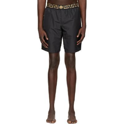 Versace Underwear Black Long Greca Border Swim Shorts