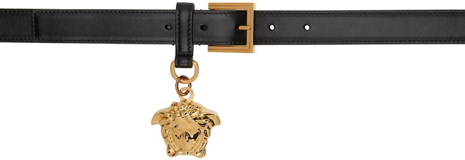 Versace Black 'La Medusa' Charm Belt