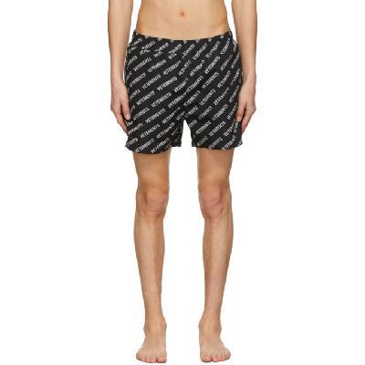 VETEMENTS Black All-Over Logo Swim Shorts