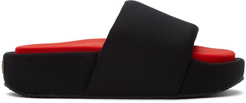Y-3 Black Neoprene Platform Slides