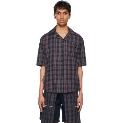 Youths in Balaclava Navy Flannel Pajama Short Sleeve Shirt