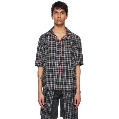 Youths in Balaclava Black Flannel Pajama Short Sleeve Shirt