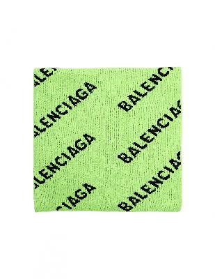 Balenciaga Neon Green All Over Logo Scarf