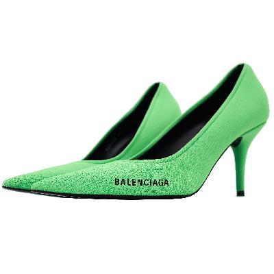 Balenciaga Green Knitted Pumps Shoes