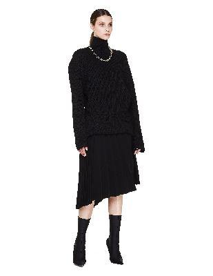 Balenciaga Fancy Black Pleated Skirt