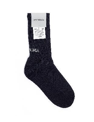 Balenciaga Black Cotton Logo Socks