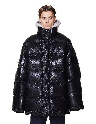 Balenciaga Black Leather Down Jacket