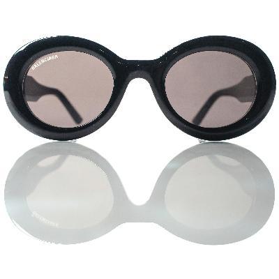 Balenciaga Black Oval Sunglasses